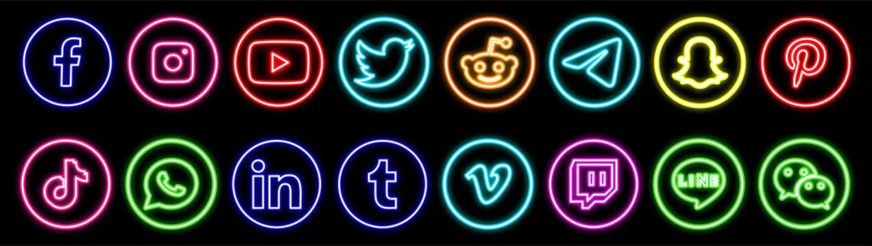 Facebook, twitter, instagram, youtube, reddit,telegram,snapchat, pinterest, tiktok logo.. Facebook, twitter, instagram, youtube, reddit,telegram,snapchat, pinterest, tiktok neon  logotype