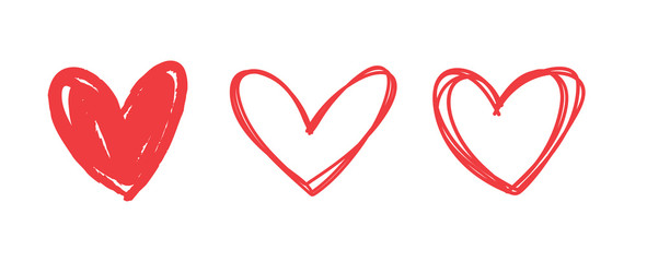Fototapeta Heart doodles set. Hand drawn hearts collection. Romance and love illustrations. obraz