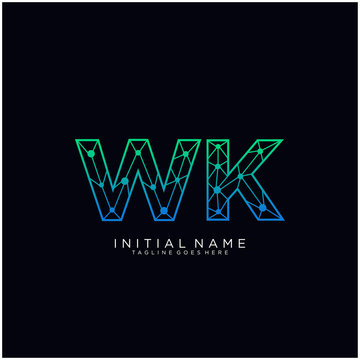 Letter WK abstract line art logo template.