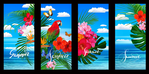 Set of tropical wallpapers for smartphone with parrot,flowers and palm leaves. Vector illustration