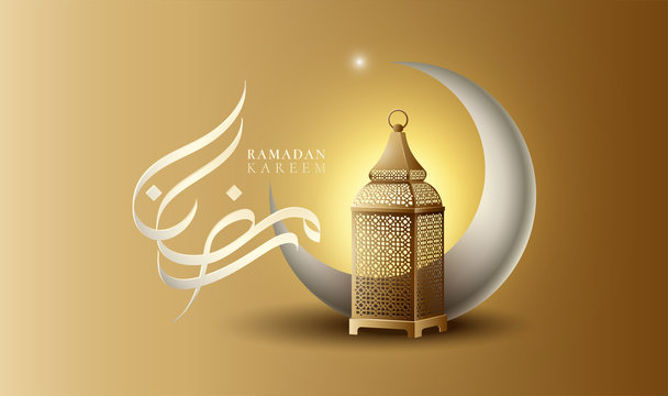 Ramadan calligraphy with crescent (hilal in arabic language) and arabic vintage lantern meaning is welcome to Ramadan of holy month.