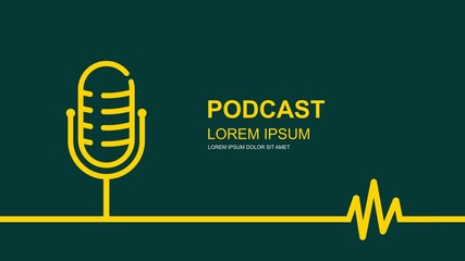 The microphone icon in a fashionable flat style . Logo, application, user interface. Podcast radio icon.vector design