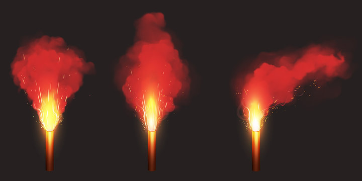 Burn red flare, signal light for emergency on road or sea. Vector realistic set of glowing torch with sparks and color smoke isolated on black background. Ignition pyrotechnics on football stadium