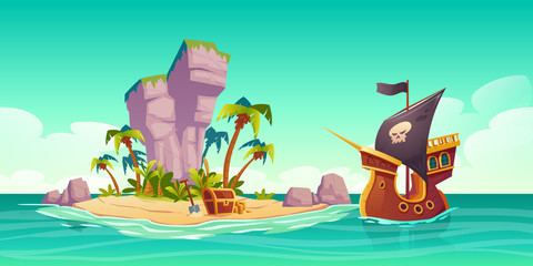 Foto auf Acrylglas Reef grun Tropical island with treasure chest and pirate ship in ocean. Vector cartoon illustration of sea landscape with wooden ship with skull on black sails, uninhabited island and gold coins on sand beach