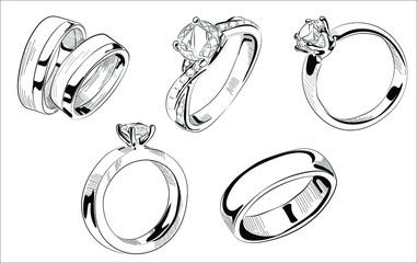 Vector hand drawn illustration of jewelry wedding and engagement rings set in vintage engraved style. Isolated on white background.