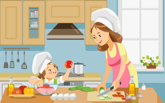 Mother and kid girl preparing healthy food at home together. Best mom ever. Mother and daughter cooking food together. Concept motherhood child-rearing. Vector illustration.