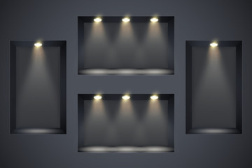 Fototapeta Wall with niches and spotlights. Concept of gallery. Recess in a dark wall in rectangle shaped with point light. Black color. Editable Background Vector illustration. obraz