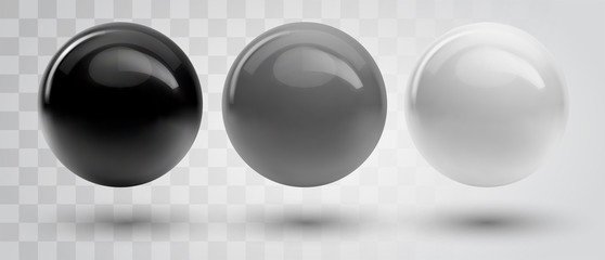 Foto op Plexiglas Bol Set of vector spheres and balls on a white background with a shadow.