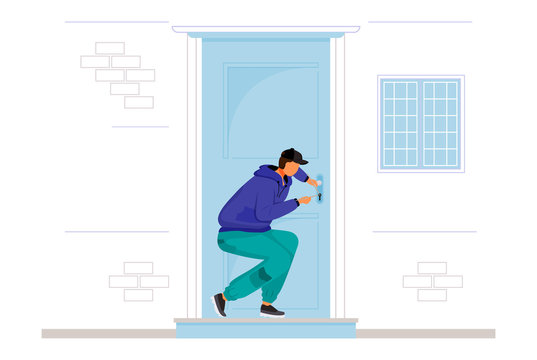 Burglar breaking into house flat color vector faceless character. Home break-in. Lockpicking. Thief opening interior door. Robber picking lock. Isolated cartoon illustration