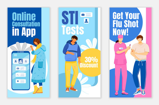 Online consultation in app flyers flat vector templates set. STI test discount printable leaflet design layout. Get your flu shot now advertising web vertical banner, social media stories