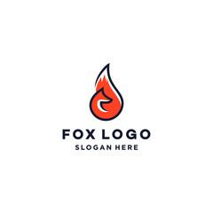 orange fox logo symbol vector icon design abstract line illustration