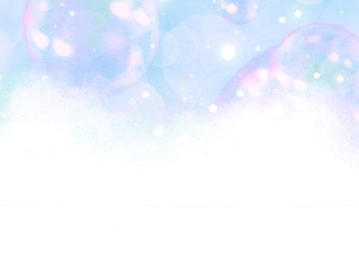 虹色 シャボン玉 背景イラスト