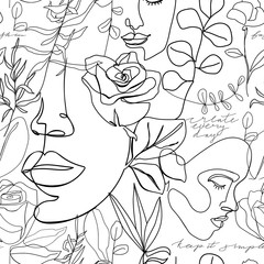 Contemporary seamless pattern. One line continuous woman face, flowers, leaves and caligraphy phrase. Texture for textile, packaging, wrapping paper, social media post etc. Vector illustration.
