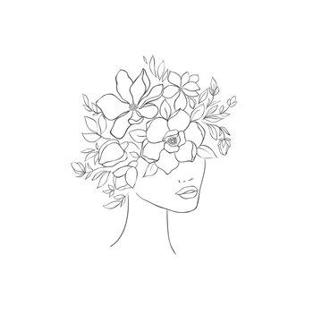 Hand drawn floral women head. Fashion design.