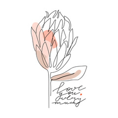Trendy one line protea flower with pastel shapes and lettering. Fashion typography slogan design