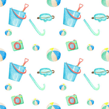 Hand drawn watercolor bucket, camera mask and beach ball seamless pattern on white background. Summer endless print. Beach wallpaper.