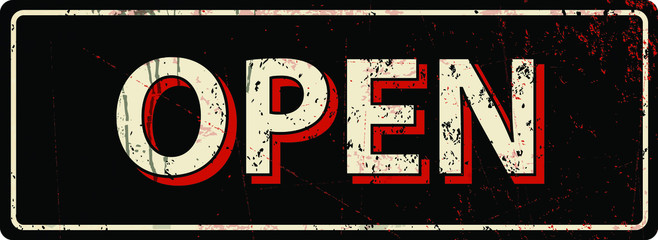 open - Vector illustration - vintage rusty metal sign