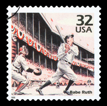 UNITED STATES OF AMERICA, CIRCA 1998: A postage stamp printed in USA showing an image of Babe Ruth, CIRCA 1998.