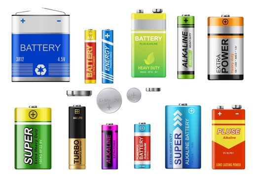 Batteries, accumulators and button cells vector set. Realistic primary batteries of different types. 3d alkaline cylinder, accumulator and coin cells of different sizes