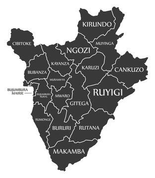Burundi black map with province labels