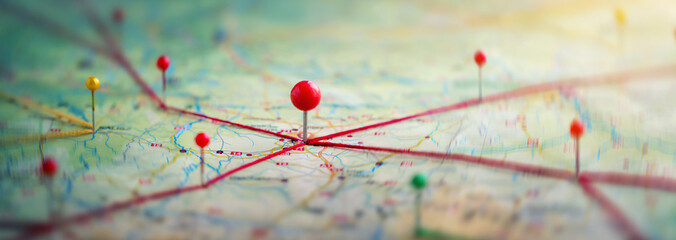 Find your way. Location marking with a pin on a map with routes. Adventure, discovery, navigation, communication, logistics, geography, transport and travel theme concept background. Fototapete