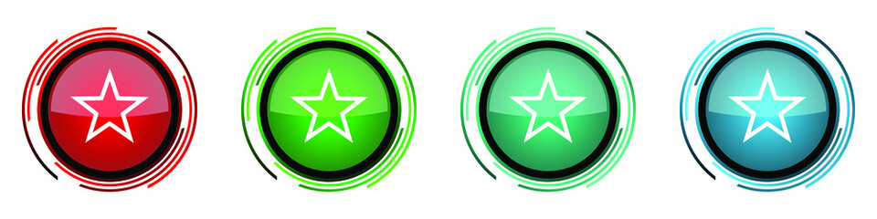 Fotomurales - Star round glossy vector icons, set of buttons for webdesign, internet and mobile phone applications in four colors options isolated on white background