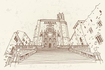 Wall Mural - Vector sketch of Catedral de Gerona. Spain.