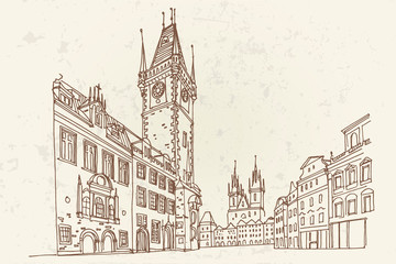 Wall Mural - Vector sketch of Prague Orloj - medieval astronomical clock mounted on Old Town Hall, Prague, Czech Republic, Europe.