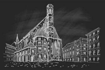 Fototapete - vector sketch of Minoritenkirche, Vienna, Austria.