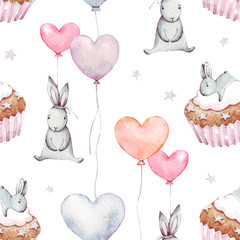 Cute baby rabbit animal with cake and pink, blue, orange ballon seamless pattern, watercolor illustration for children clothing, wallpaper. For cases design, nursery posters, postcards, print .