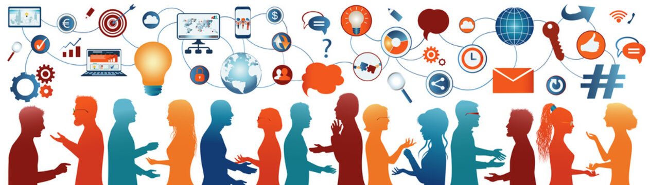 Sharing ideas.Communication network diverse people.Network teamwork.Multiethnic.Connection and exchange of ideas - data or questions.Future technology.Mind Map.Upload download data