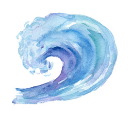 Watercolor big wave on white background.