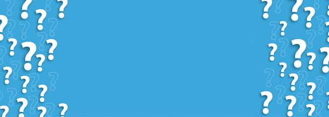 Obraz White Question Marks Blue Centre Header - fototapety do salonu