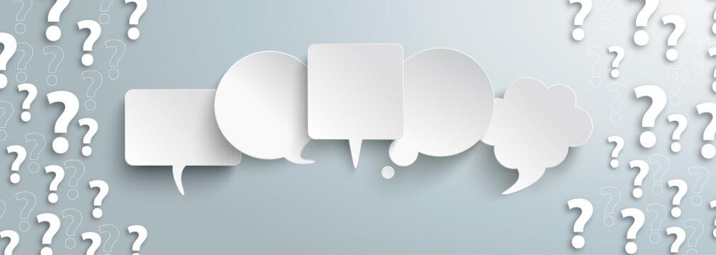 White Question Marks Speech Bubbles Gray Centre Header