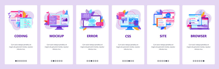 Wall Mural - Web development and coding mobile phone app icons. 404 error, css and html code, computer technology. Onboarding screens. Vector template for website mobile development. Web site design illustration