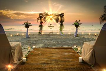 Printed kitchen splashbacks Island Wedding Set Up the sea Romantic
