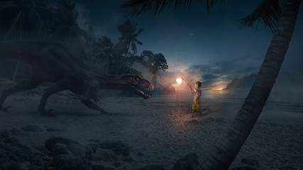 A brave boy (child) hero holding an ax of light and fighting a terrible and big monster (dinosaur) on an island at night at sunset - Concept of God, fantasy, light versus darkness. Fotobehang