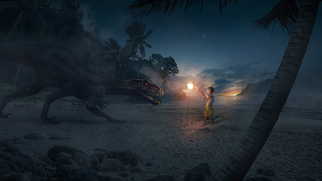A brave boy (child) hero holding an ax of light and fighting a terrible and big monster (dinosaur) on an island at night at sunset - Concept of God, fantasy, light versus darkness.