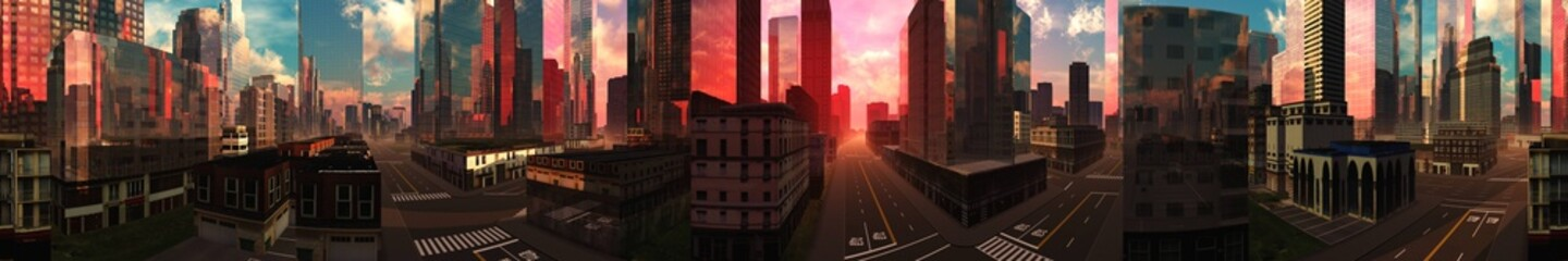 Wall Mural - Panorama of the modern city, skyscrapers, modern high-rise buildings in the rays of the setting sun, 3D rendering