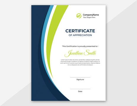 Vertical blue & green waves certificate template