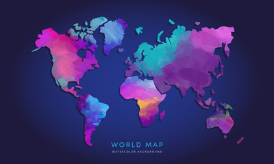 Vector hand drawn watercolor world map isolated on dark background