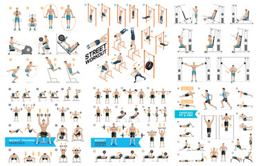 Dumbbell Exercises and Workouts Weight Training. Vector Illustration