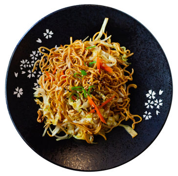Japanise style noodles with vegetables yakisoba beautifully serv