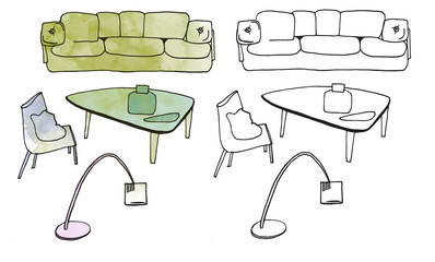 furniture isolated objects, sketches and digital watercolor