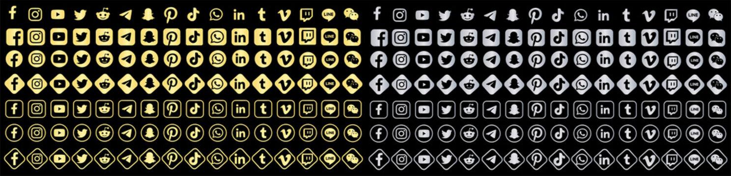 acebook, twitter, instagram, youtube, reddit,telegram,snapchat, pinterest, tiktok logo.. Facebook, twitter, instagram, youtube, reddit,telegram,snapchat, pinterest, tiktok vector gold and silver