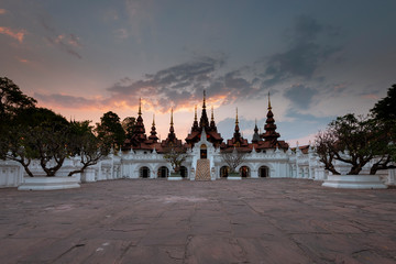 Wall Mural - Old architecture landmark temple famous in Chiangmai, Thailand