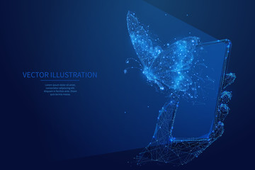 Abstract free internet or freelance work concept. Butterfly flies out of smartphone screen. Low poly wireframe digital vector illustration. Blue starry night sky style. Polygons and connected dots.
