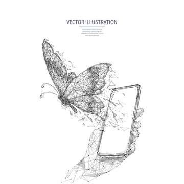 Free internet concept. Free wifi metaphor isolated on white background. Polygonal butterfly flies out of smartphone screen in a hand. Low poly wireframe digital vector illustration. Polygons and dots.