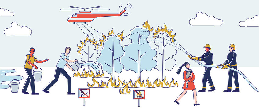 Forest Wildfire Concept. Fire Brigade With Volunteers Are Extinguishing Global Forest Fire By Means Of Ground And Aerial Machinery, Rescuing Animals. Cartoon Outline Linear Flat Vector Illustration