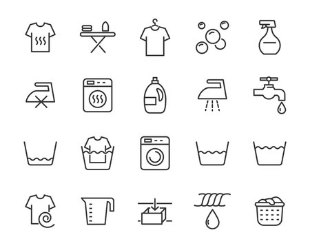 set of laundry icons, clean, housekeeping